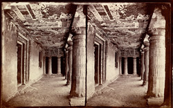 Interior of verandah from the left of Buddhist vihara, Cave II, Ajanta